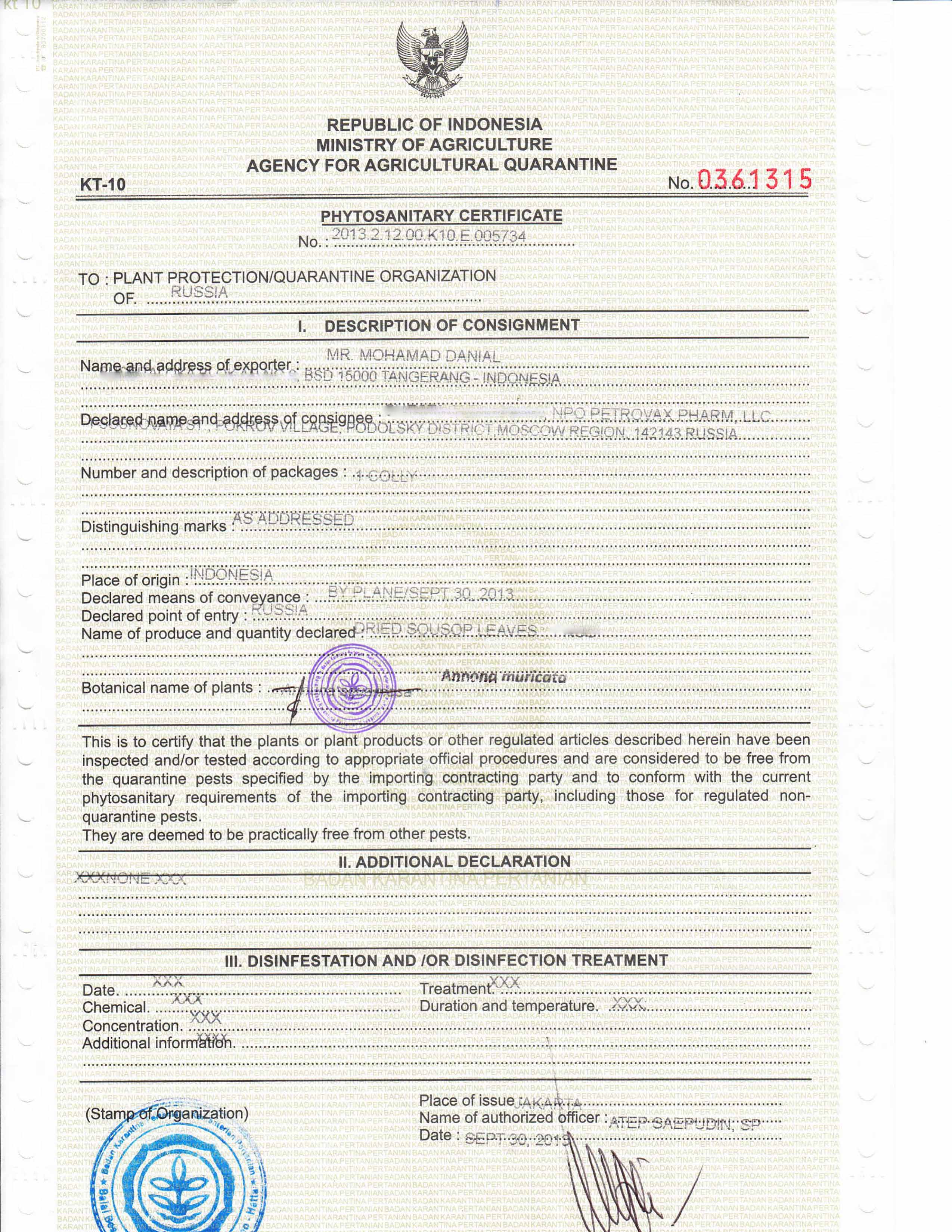 Phytosanitary Certificate From The Ministry Of Agriculture Of
